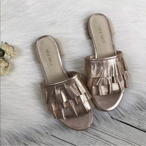 Nine West Metallic Rose Gold Flats Sandals